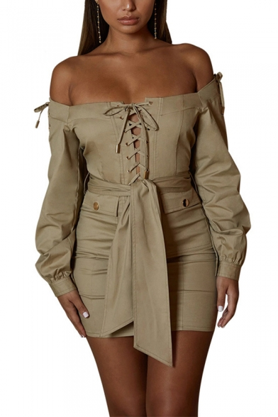 Fashion Khaki Solid Color Off Shoulder Long Sleeve Lace Up Bow Tie