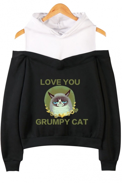 Fashion Letter LOVE YOU GRUMPY CAT Print Cold Shoulder Long Sleeve Pullover Hoodie