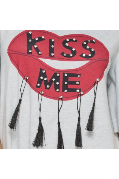 Funny Red Lip Letter KISS ME Tassel Hem Round Neck Casual Loose Asymmetrical T-Shirt Dress