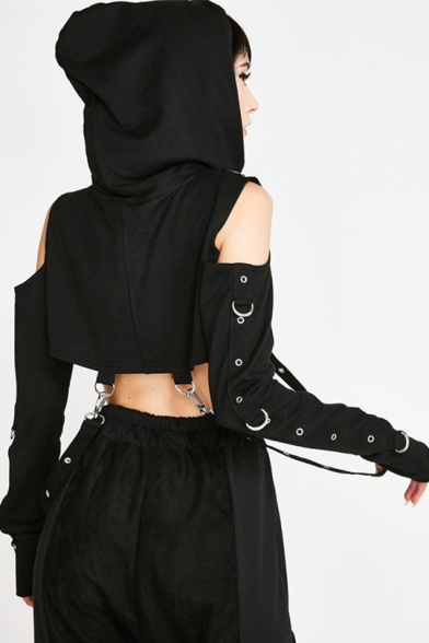 Girls Retro Punk Style Black Cold Shoulder Long Sleeve Hollow Out Hip Hop Cropped Hoodie