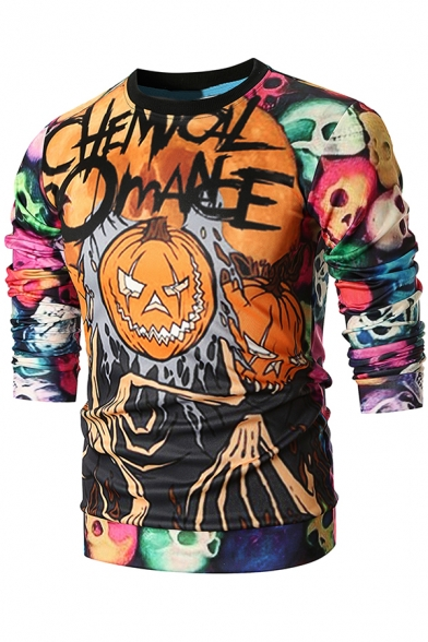 Halloween Skull Pumpkin 3D Printed Basic Round Neck Long Sleeve Fitted Sweatshirt
