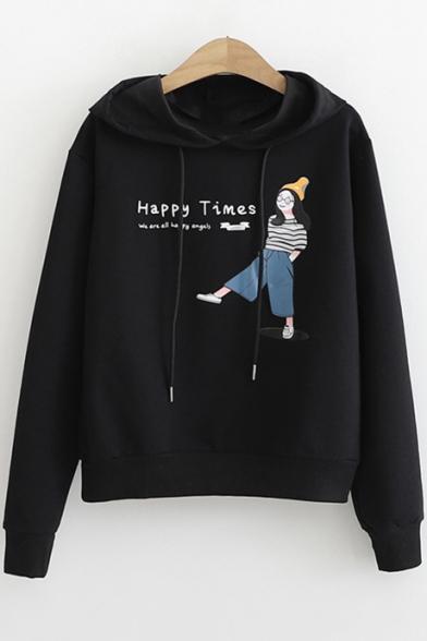 HAPPY TIMES Comic Figure Printed Long Sleeve Casual Loose Pullover Hoodie