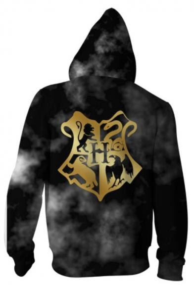 Harry Potter Hogwarts House Badge Pattern Long Sleeve Casual Black Zip Up Hoodie