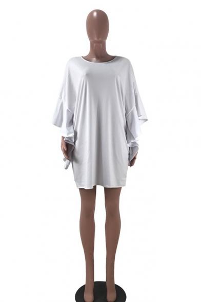Hot Fashion Round Neck Ruffle Sleeve Plain Loose Mini White Dress For Women