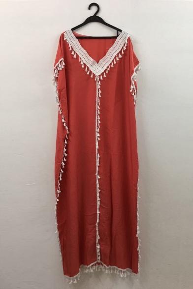 Hot Fashion Sexy V-Neck Long Sleeve Plain Tassel Detail Floor Length Boho Beach Dress