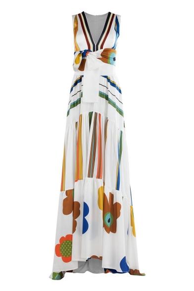 Hot Fashion V-Neck Sleeveless Tribal Printed Bow-Tied Waist Length Floor Beach White Dress