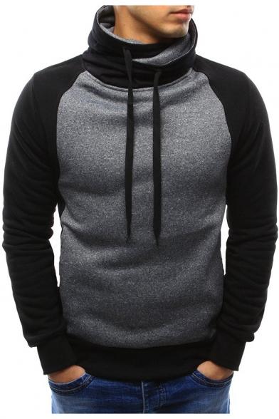 Men's Stylish Colorblock Printed Long Sleeve High Neck Drawstring Pullover Sweatshirt