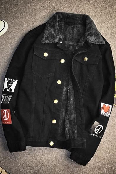 Mens Black Cartoon Letter Pattern Lapel Collar Long Sleeve Fur Inside Thicken Button Down Denim Jacket
