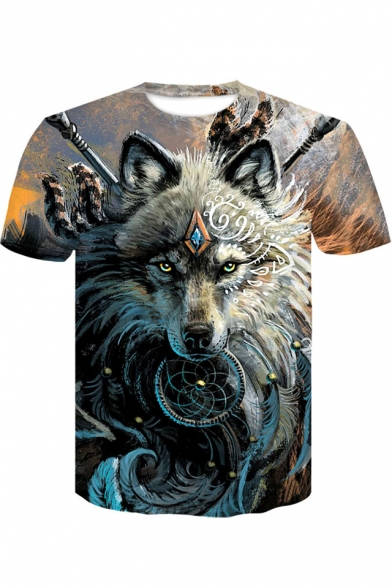 Wolf Animal 3D Print Men Casual Short Sleeve T-Shirt Crew Graphic Tee Tops