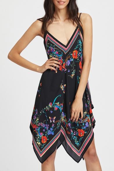 New Trendy Black Floral Pattern V-Neck Sleeveless Black Asymmetrical Cami Dress