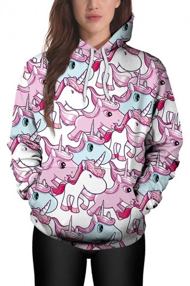 New Trendy Cute Cartoon Pink Unicorn Printed Long Sleeve Casual Relaxed Hoodie