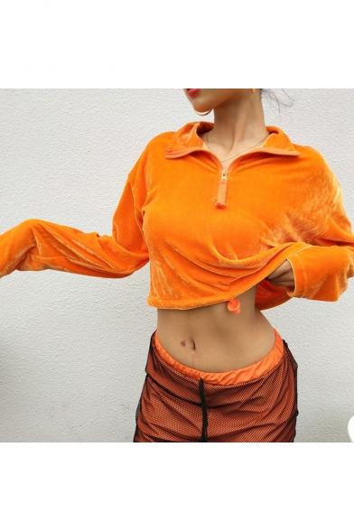 Orange Lapel Collar Long Sleeve Plain Pleuche Cropped Sweatshirt with Zip and Drawstring
