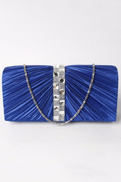 Popular Plain Ruffled Rhinestone Tape Patched Evening Clutch Bag 20*10.5*5.5 CM