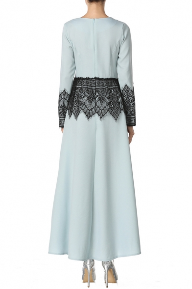 Retro Ethnic Style Round Neck Long Sleeve Chic Lace Panel Maxi Muslim A-Line Dress