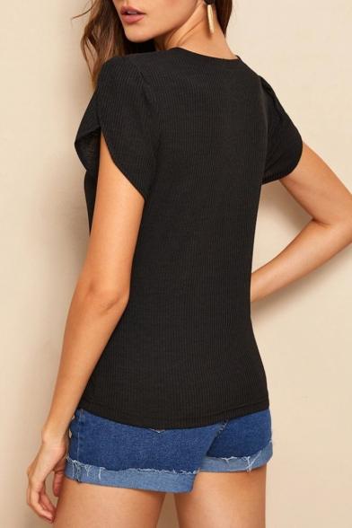 Simple Solid Color Button Embellished V-Neck Short Sleeve Slim Fitted Black T-Shirt
