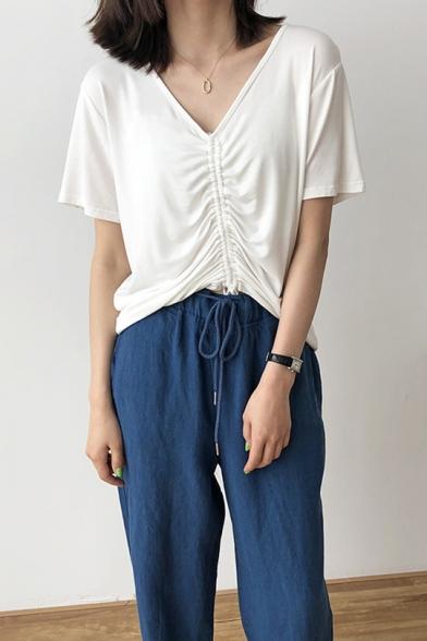 Stylish Drawstring Ruched V-Neck Short Sleeve Casual Modal Cotton T-Shirt