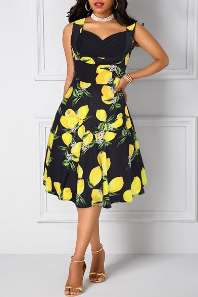 Summer Chic Lemon Pattern V-Neck Sleeveless Fashion Patchwork Midi Fit and Flared Dress