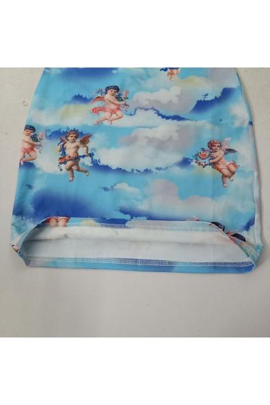 Summer Fashion Cute Angel Baby Printed Crisscross Back Mini Blue Bodycon Slip Dress