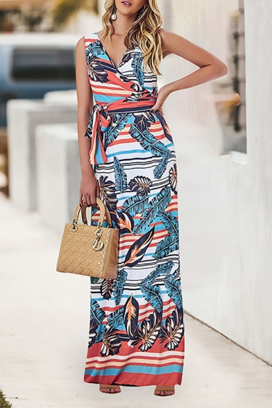 Summer New Stylish V-Neck Sleeveless Tribal Printed Bow-Tied Waist Maxi Tank Dress