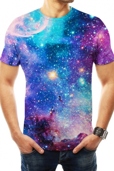 Trendy Fashion Blue Galaxy Printed Basic Round Neck Short Sleeve T-Shirt