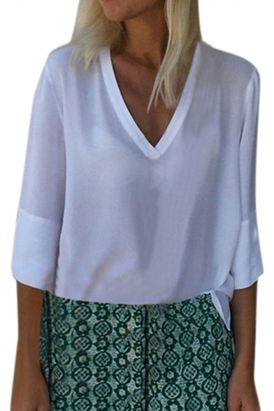 Women's Fashion Basic Solid Color V-Neck Loose Fitted Chiffon Blouse Top
