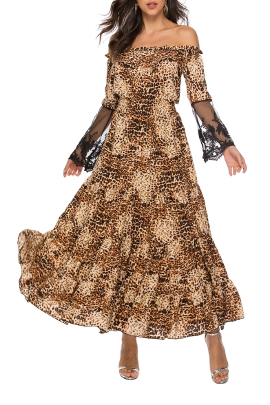 Women's Fashion Off The Shoulder Long Sleeve Leopard Printed Lace Patch Maxi Beach Swing Camel Dress