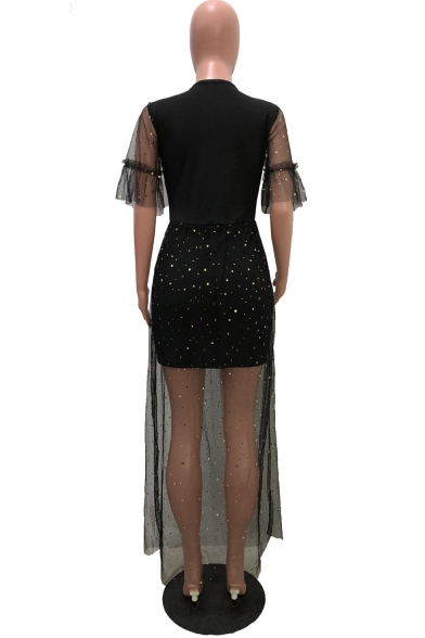 Women's Fashion Sexy Round Neck Half Sleeve Plain Sequined Mesh Patch Maxi Nightclub A-Line Dress
