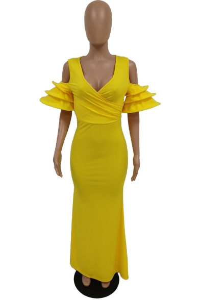 Women's New Stylish V-Neck Cutout Short Sleeve Plain Casual Maxi Nightclub Bodycon Yellow Dress