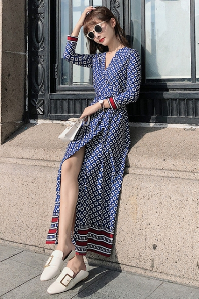 Women's Vintage V-Neck Long Sleeve Geometric Printed Split Side Maxi A-Line Blue Dress