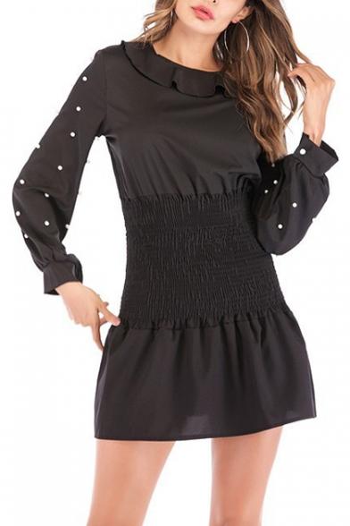 Womens Black Chic Beading Embellished Long Sleeve Round Neck Sash Waist Mini A-Line Dress