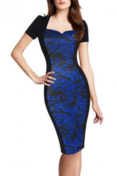 Женские шикарный синий цветочный напечатано V-образным вырезом с коротким рукавом Midi карандаш Платье для офисной леди