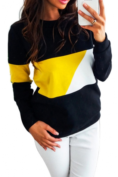Baycheer / Womens Colorblock Round Neck Long Sleeve Sweatshirt
