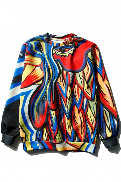 Womens Cool Colorful Graffiti Printed Round Neck Long Sleeve Pullover Sweatshirt