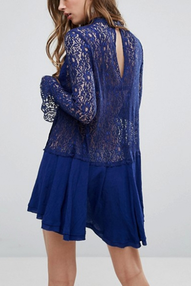 Womens Sexy Cut Out V-Neck Long Sleeve Mini Ruffled Sheer Lace Dress
