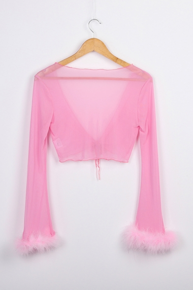 Womens Sexy Sheer Solid Colr Tied Front Fur-Trimmed Long Sleeve Cropped T-Shirt