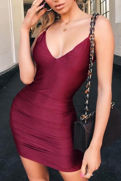 Womens Summer Stylish Solid Color Sexy V-Neck Open Back Mini Nightclub Bodycon Slip Dress