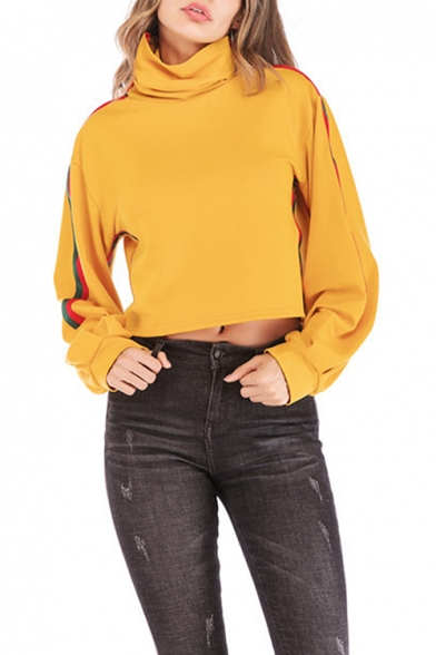 Womens Trendy Funnel Cowl Neck Striped Long Sleeve Cropped Yellow Sweatshirt