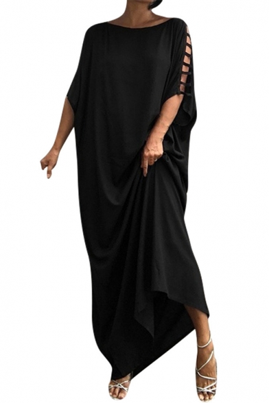 Womens Trendy Solid Color Round Neck Hollow Out Sleeve Maxi Casual Loose Shift Dress