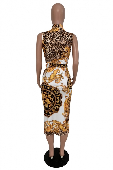 Yellow Leopard Tribal Printed Zip Front Plunge Neck Sleeveless Bow Tie Midi Pencil Dress