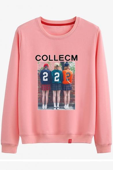 COLLECM Letter Girls Back Photo Printed Round Neck Long Sleeve Sweatshirt