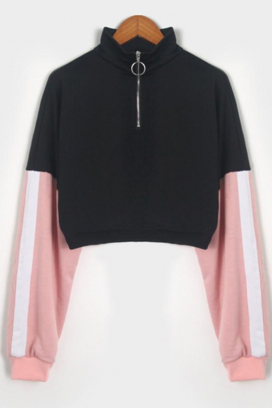 Color Block Tape Long Sleeve Half-Zip Stand Collar Cropped Black Sweatshirt