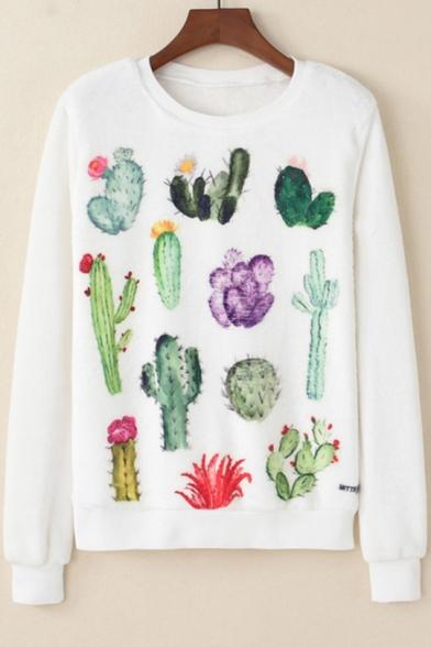 Girls Cute Cactus Pattern Round Neck Long Sleeve Basic White Casual Sweatshirt, LM537853