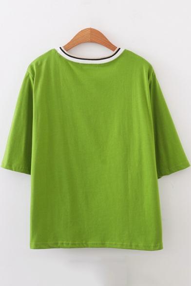 Girls Cute Cartoon Dinosaur Embroidery Round Neck Short Sleeve Loose Casual T-Shirt