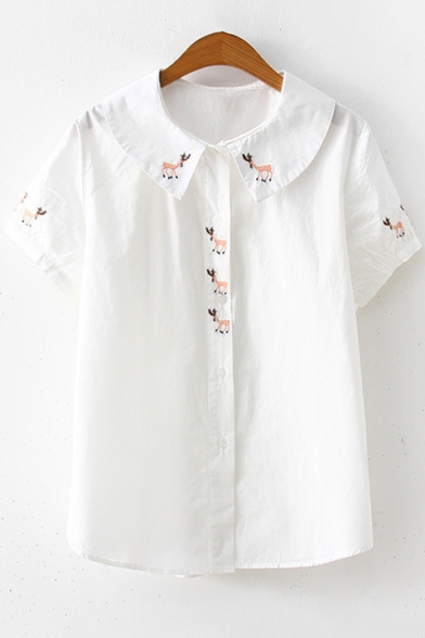 Baycheer / Girls Cute Cartoon Embroidery Turn-Down Collar Short Sleeve White Button Down Shirt