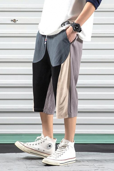 Guys Chinese Style Cotton and Linen Fashion Colorblock Loose Relaxed Cropped Pants