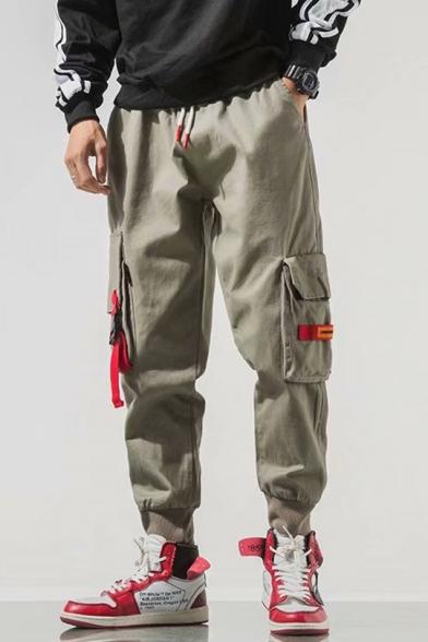 Guys New Trendy Ribbon Embellished Drawstring Waist Loose Fit Cargo Pants