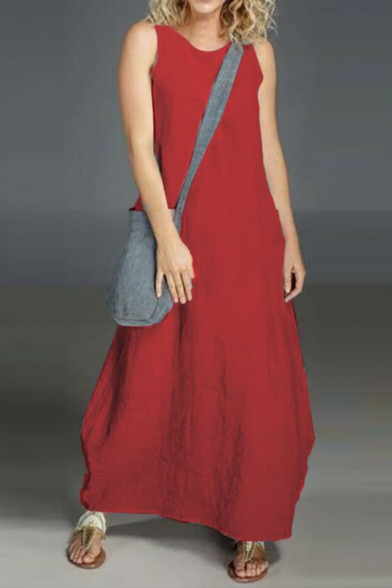 Hot Fashion Round Neck Sleeveless Plain Maxi Loose Tank Linen Dress For Women