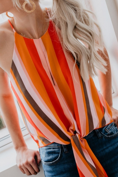 Hot Popular Colorful Striped Print Sleeveless Knotted Hem Cami Top