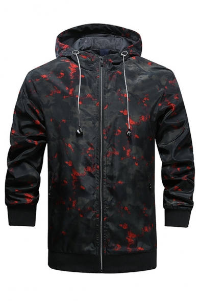Mens Outdoor Cool Fashion Camo Pattern Long Sleeve Breathable Sun Protection Zip Up Hooded Sport Jacket Coat