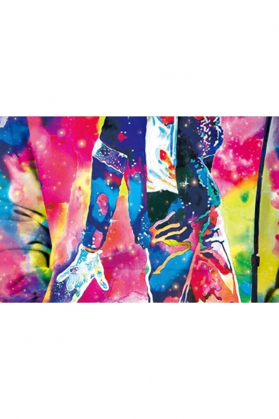 New Fashion Michael Jackson 3D Character Print Tie Dye Round Neck Long Sleeve Unisex Pullover Sweatshirt